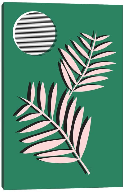 Palm Leaves In Moonlight Canvas Art Print