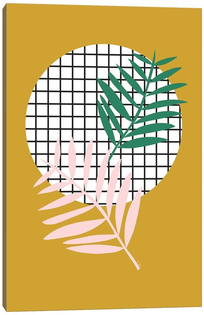 Palm Leaves In Mustard Canvas Art Print