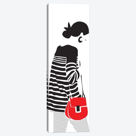 Stripy Parisian 3-Piece Canvas #LIG36} by Linda Gobeta Art Print
