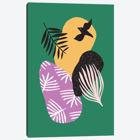 Tropical Birds In Green Canvas Print #LIG39} by Linda Gobeta Canvas Artwork