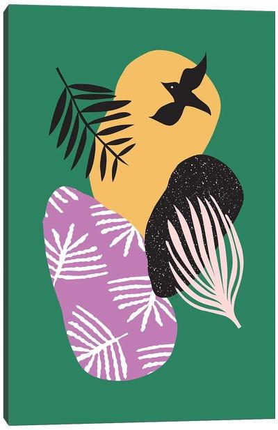 Tropical Birds In Green Canvas Art Print