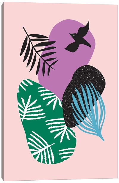 Tropical Birds In Pink Canvas Art Print