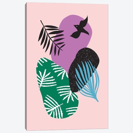 Tropical Birds In Pink Canvas Print #LIG40} by Linda Gobeta Canvas Art Print