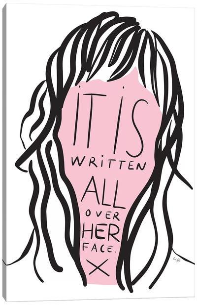 Written All Over Her Face Canvas Art Print