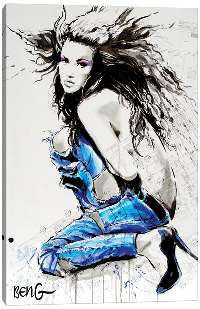 Blue Nude V Canvas Art Print