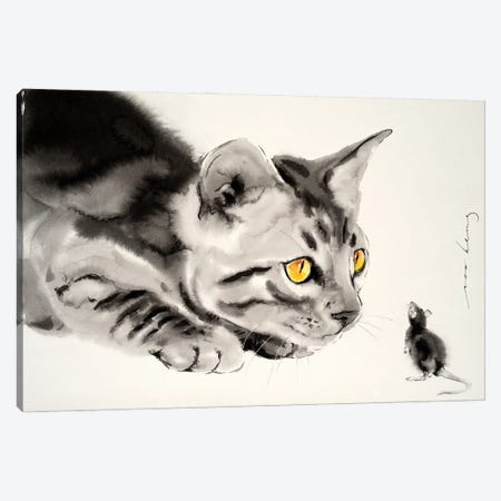 Cat And Mouse Canvas Print #LIM124} by Soo Beng Lim Canvas Wall Art