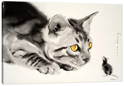 Cat And Mouse Canvas Art Print