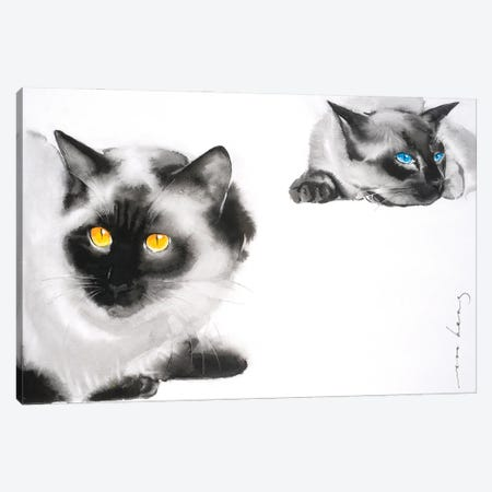 Cat Distancing Canvas Print #LIM151} by Soo Beng Lim Canvas Wall Art