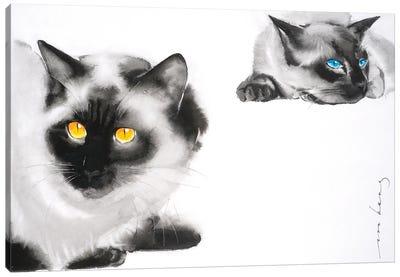 Cat Distancing Canvas Art Print