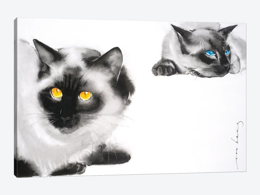 Cat Distancing by Soo Beng Lim 1-piece Canvas Art Print