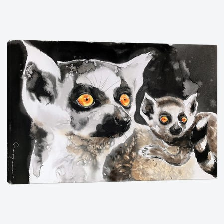 Lemur And Pup Canvas Print #LIM208} by Soo Beng Lim Canvas Art