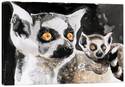 Lemur And Pup Canvas Art Print