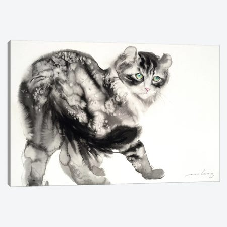 Demure Kitty Canvas Print #LIM44} by Soo Beng Lim Canvas Wall Art