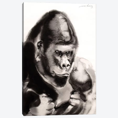 Gentle Gorilla Canvas Print #LIM54} by Soo Beng Lim Art Print
