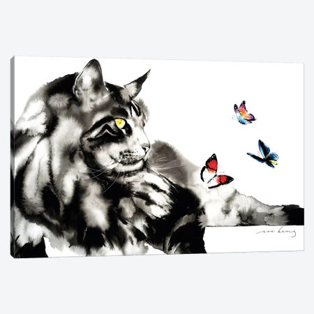 Let's Play Cat II Canvas Print #LIM71} by Soo Beng Lim Canvas Artwork