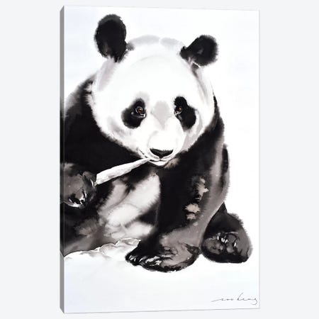 Panda Munch II Canvas Print #LIM77} by Soo Beng Lim Art Print