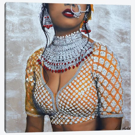 Indian Couture I (Silver) Canvas Print #LIN20} by Linda Charles Canvas Wall Art