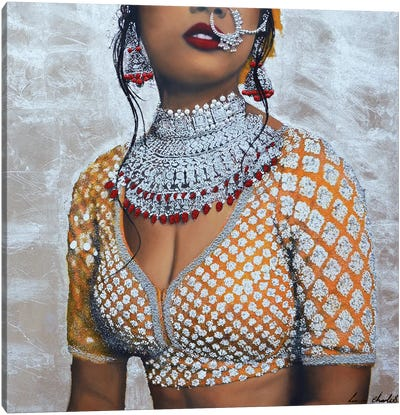 Indian Couture I (Silver) Canvas Art Print