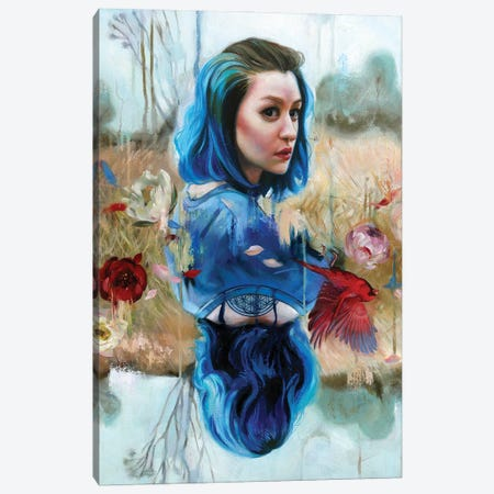 Blue Dragon Canvas Print #LIO7} by Lioba Brückner Canvas Wall Art