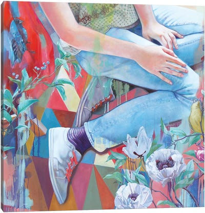 Bluebird And White Poppies Canvas Art Print