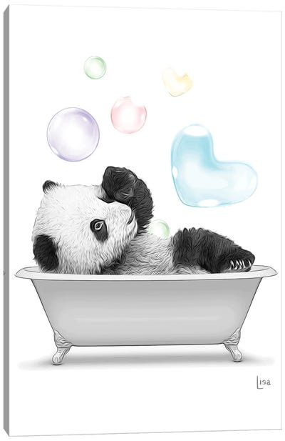 Panda In The Bath With Bubbles Canvas Art Print