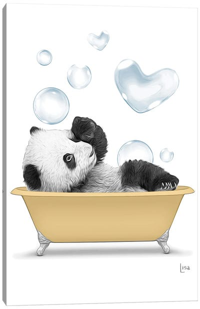 Panda In The Gold Bath With Bubbles Canvas Art Print