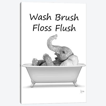 Elephant - Wash Brush Floss Flush Canvas Print #LIP104} by Printable Lisa's Pets Canvas Wall Art