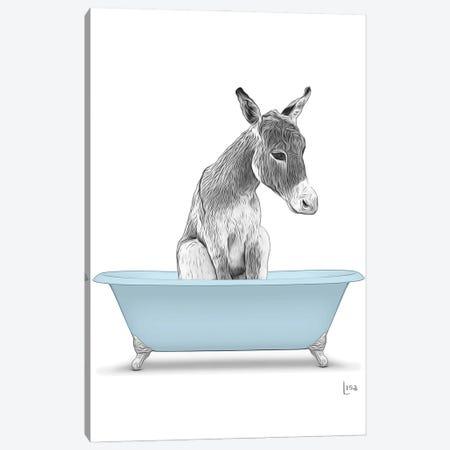 Donkey In The Blue Bath Canvas Print #LIP109} by Printable Lisa's Pets Art Print