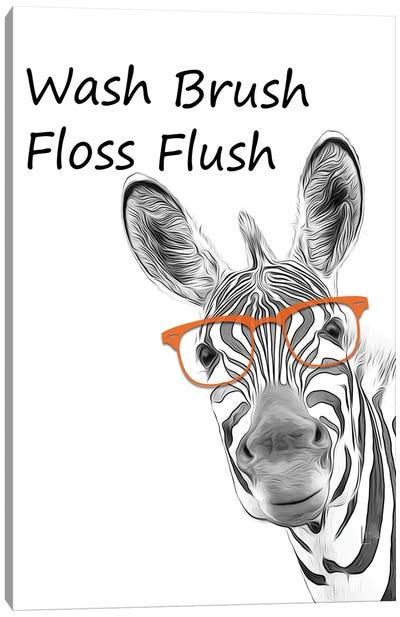 Zebra - Wash Brush Floss Flush Canvas Art Print