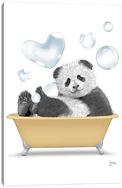 Panda In The Gold Bath Canvas Art Print