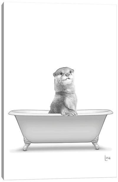 Otter In The Bath Bw Canvas Art Print