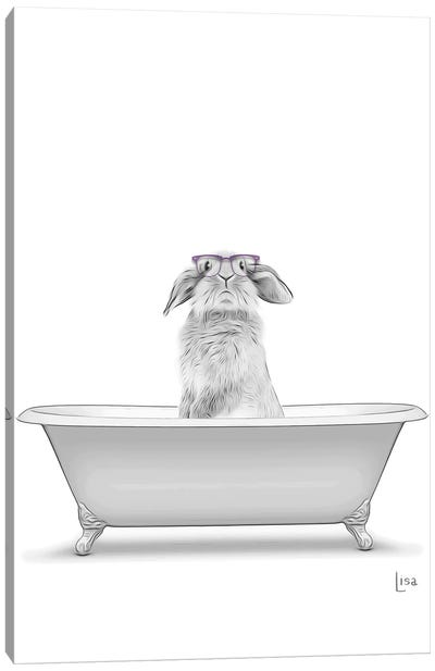 Bunny With Glasses In The Bath Canvas Art Print