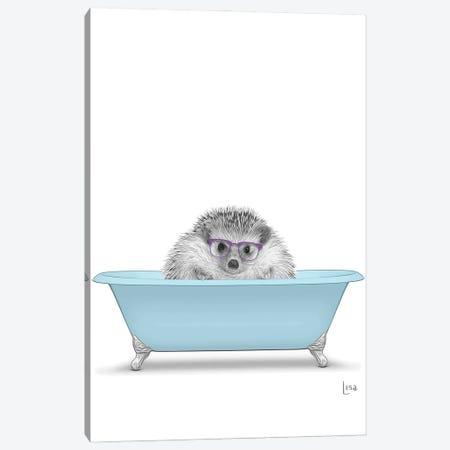Hedgehog In The Blue Bath Canvas Print #LIP117} by Printable Lisa's Pets Canvas Art Print