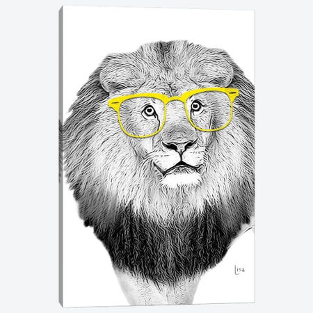 Lion With Yellow Glasses Canvas Print #LIP11} by Printable Lisa's Pets Canvas Print