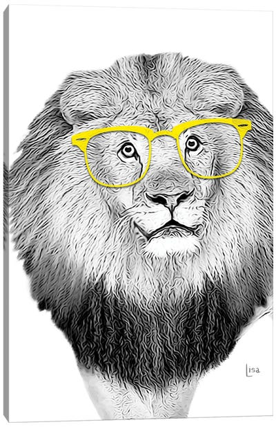 Lion With Yellow Glasses Canvas Art Print