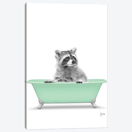 Raccoon In The Green Bath Canvas Print #LIP122} by Printable Lisa's Pets Canvas Print