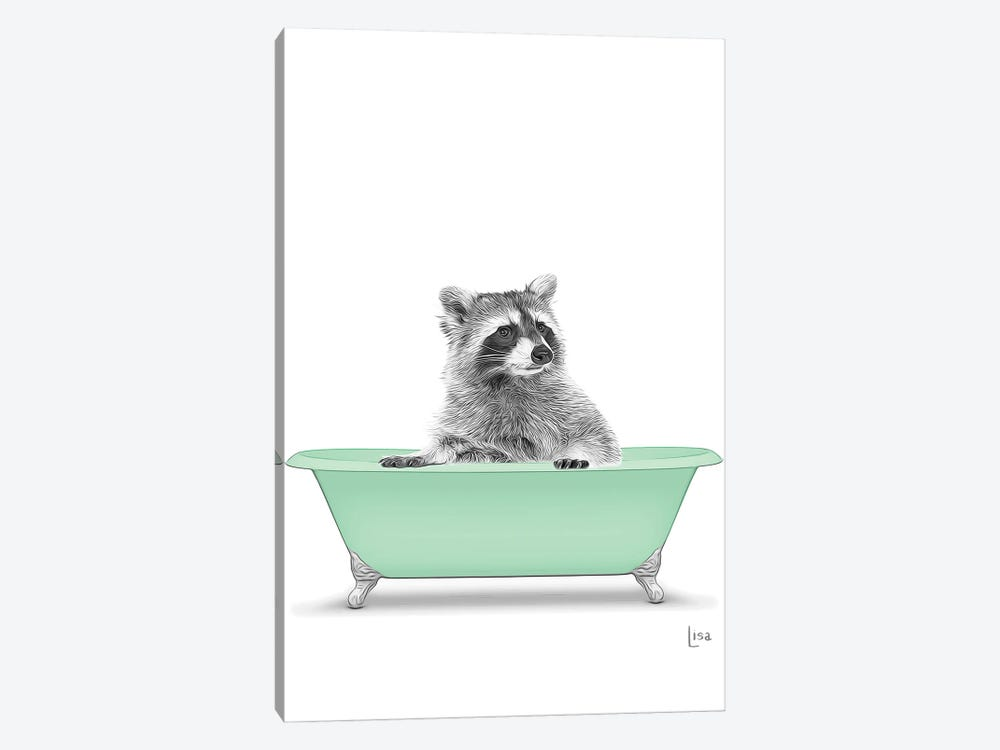 Raccoon In The Green Bath by Printable Lisa's Pets 1-piece Canvas Artwork