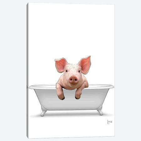 Color Pig In The Bath Canvas Print #LIP124} by Printable Lisa's Pets Canvas Art