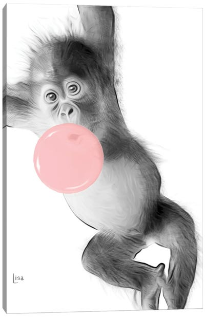 Monkey With Chewing Gum Canvas Art Print