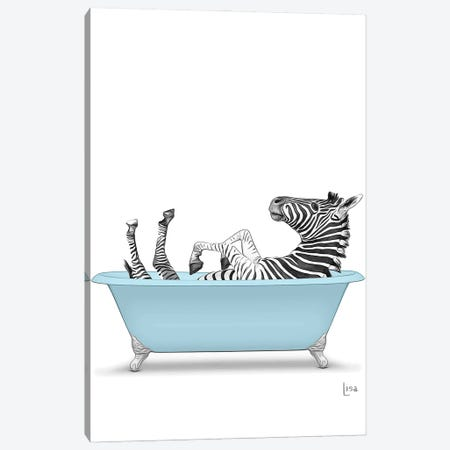 Zebra In The Blue Bath Canvas Print #LIP130} by Printable Lisa's Pets Canvas Wall Art