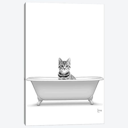 Cat In The Bath Bw Canvas Print #LIP131} by Printable Lisa's Pets Canvas Wall Art