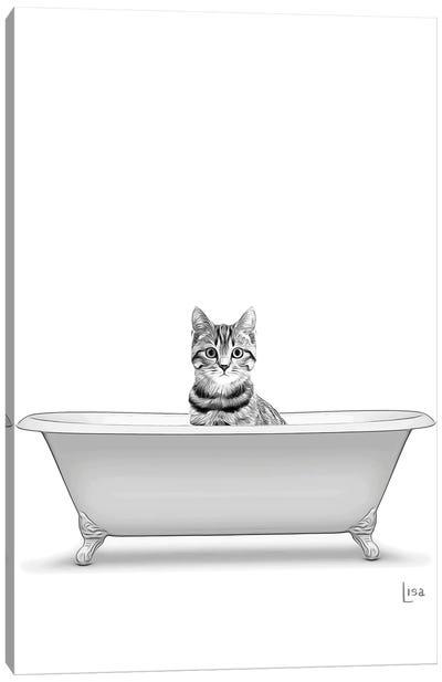 Cat In The Bath Bw Canvas Art Print