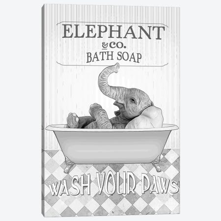 Elephant Bw Bathroom Decor Canvas Print #LIP135} by Printable Lisa's Pets Art Print