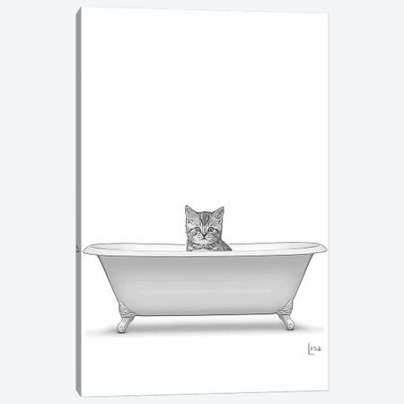 Bw Cat In The Bath Canvas Print #LIP136} by Printable Lisa's Pets Canvas Art Print