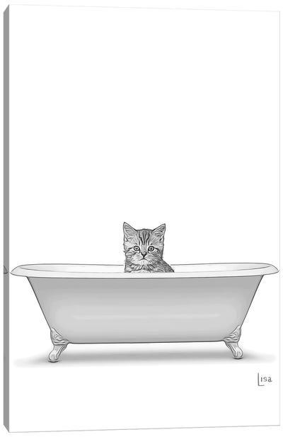 Bw Cat In The Bath Canvas Art Print