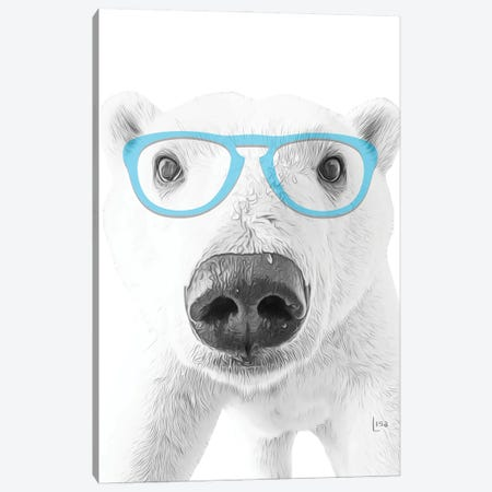 Polar Bear With Blue Glasses Canvas Print #LIP13} by Printable Lisa's Pets Canvas Art Print
