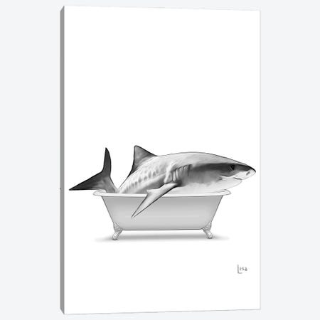 Shark In Bathtub Black And White Canvas Print #LIP140} by Printable Lisa's Pets Art Print