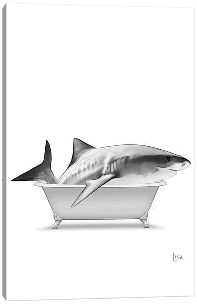 Shark In Bathtub Black And White Canvas Art Print