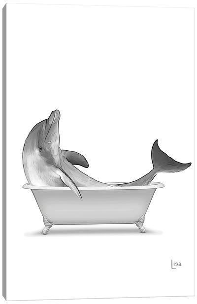 Dolphin In Bathtub Black And White Canvas Art Print
