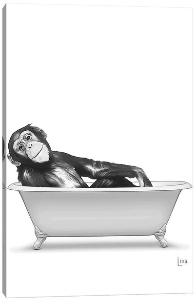 Monkey In Bathtub Black And White Canvas Art Print